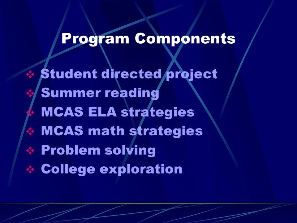 Program Components  Student directed project  Summer reading  MCAS ELA strategies  MCAS math strategies  Problem solving  College exploration