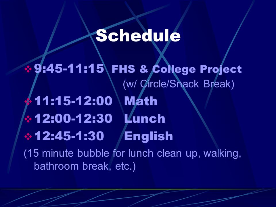 Schedule  9:45-11:15 FHS & College Project (w/ Circle/Snack Break)  11:15-12:00 Math  12:00-12:30 Lunch  12:45-1:30 English (15 minute bubble for lunch clean up, walking, bathroom break, etc.)