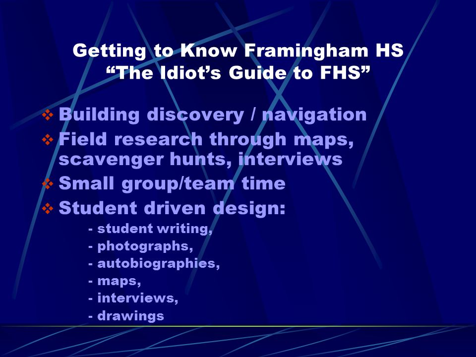 Getting to Know Framingham HS The Idiot's Guide to FHS  Building discovery / navigation  Field research through maps, scavenger hunts, interviews  Small group/team time  Student driven design: - student writing, - photographs, - autobiographies, - maps, - interviews, - drawings