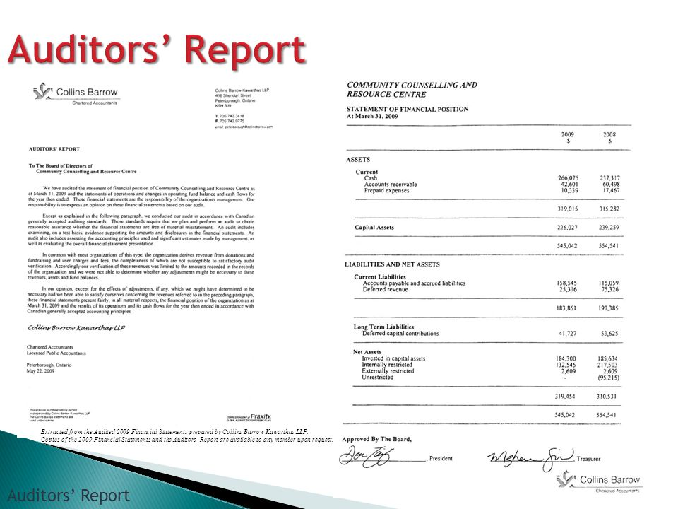 Extracted from the Audited 2009 Financial Statements prepared by Collins Barrow Kawarthas LLP.