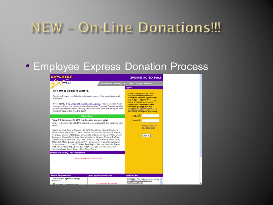 Employee Express Donation Process
