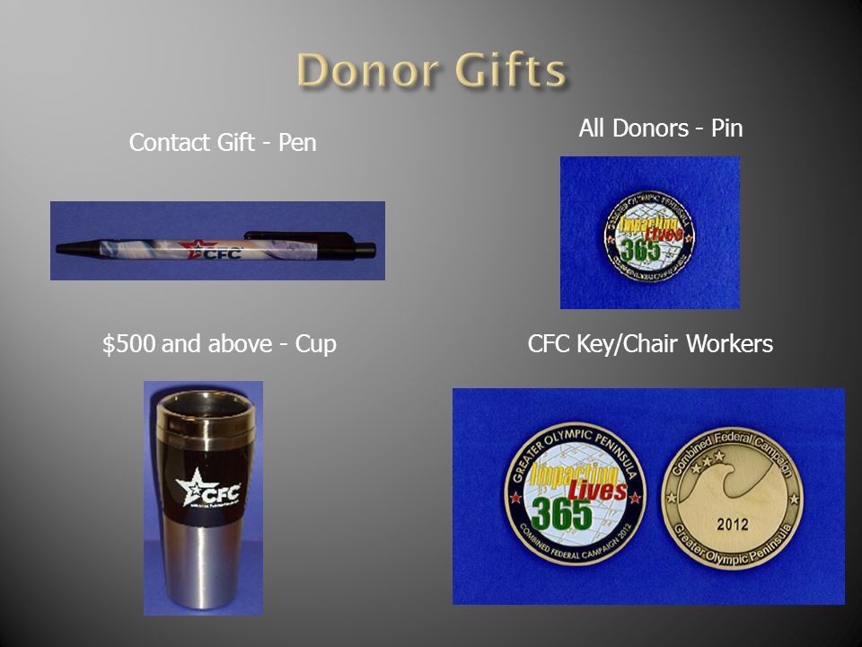 Contact Gift - Pen All Donors - Pin $500 and above - CupCFC Key/Chair Workers
