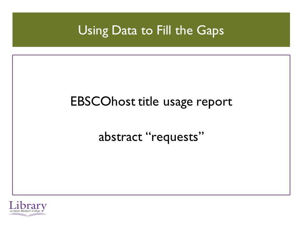 Using Data to Fill the Gaps EBSCOhost title usage report abstract requests