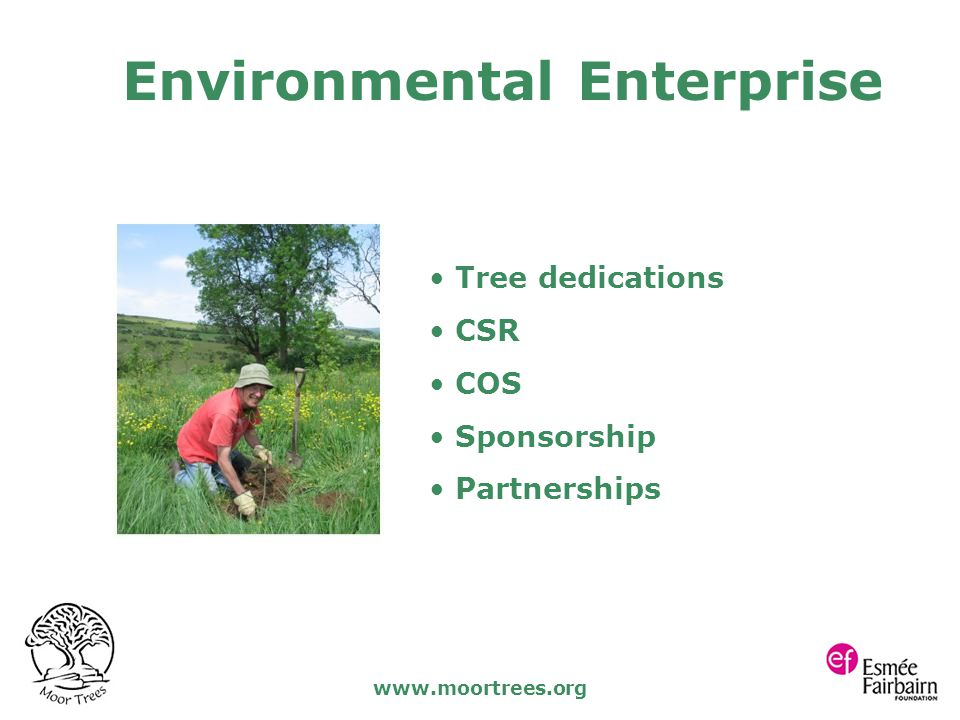 www.moortrees.org Tree dedications CSR COS Sponsorship Partnerships Environmental Enterprise