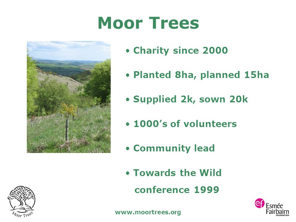 www.moortrees.org Charity since 2000 Planted 8ha, planned 15ha Supplied 2k, sown 20k 1000's of volunteers Community lead Towards the Wild conference 1