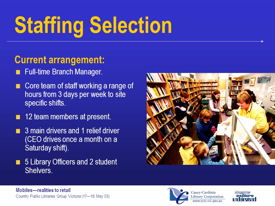 Staffing Selection Current arrangement: Full-time Branch Manager.