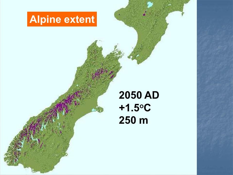 Alpine extent 2050 AD +1.5 o C 250 m
