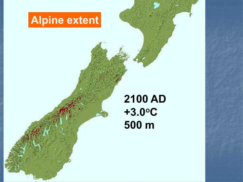 Alpine extent 2100 AD +3.0 o C 500 m