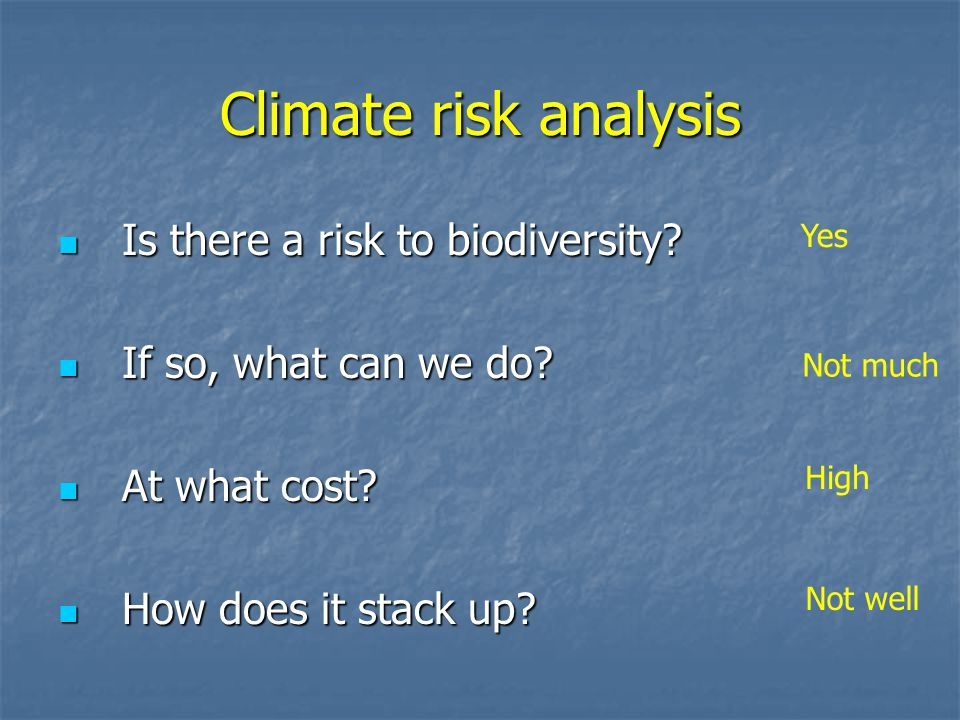 Climate risk analysis Is there a risk to biodiversity.