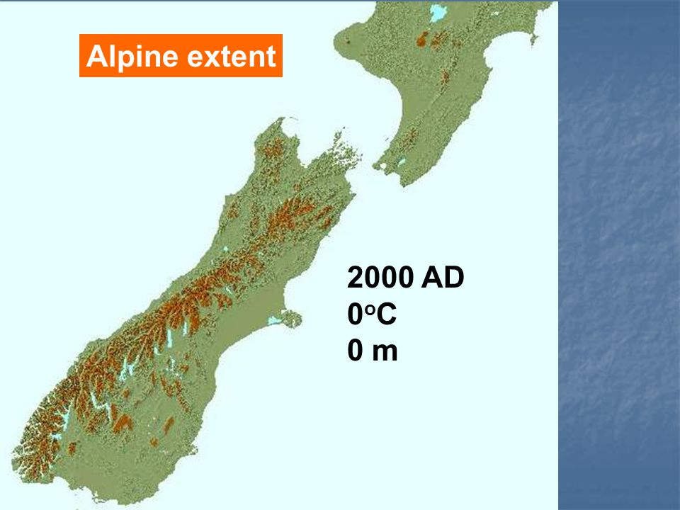 Alpine extent 2000 AD 0 o C 0 m