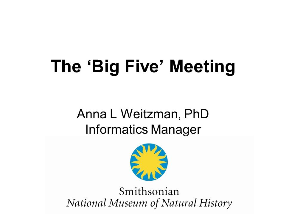 The 'Big Five' Meeting Anna L Weitzman, PhD Informatics Manager