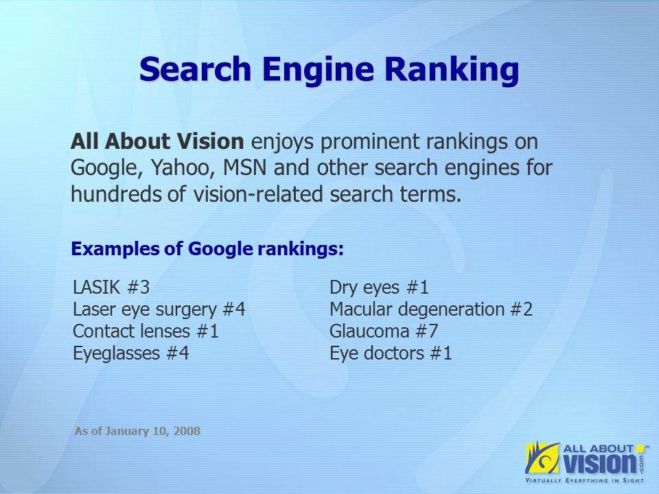 The Importance of Search Engines The Importance of Search Engines 80% of adult online Americans have searched the Internet for health information 81% of health searchers start at a search engine, not a medical site Source: Pew Internet & American Life Project: July 2002, July 2003, May 2005