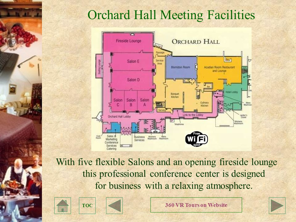 TOC Orchard Hall Meeting Facilities With five flexible Salons and an opening fireside lounge this professional conference center is designed for business with a relaxing atmosphere.