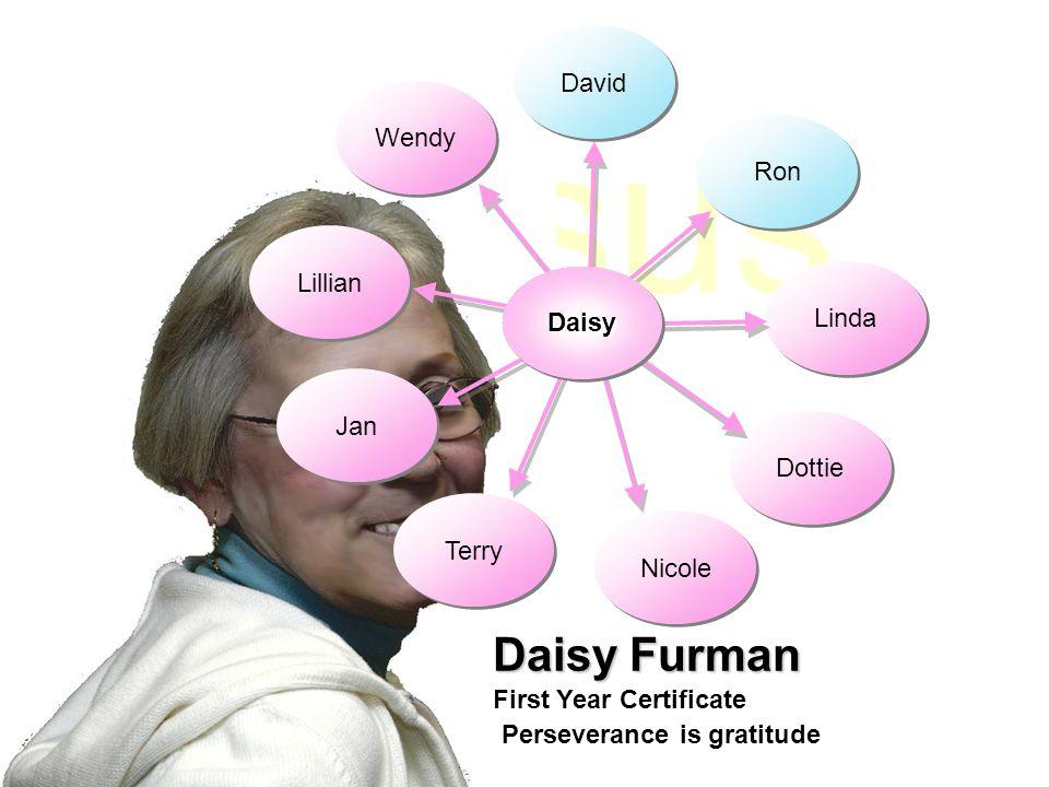 Jesus David Jan Daisy Furman First Year Certificate Ron Wendy Lillian Terry Nicole Dottie Linda DaisyDaisy Perseverance is gratitude