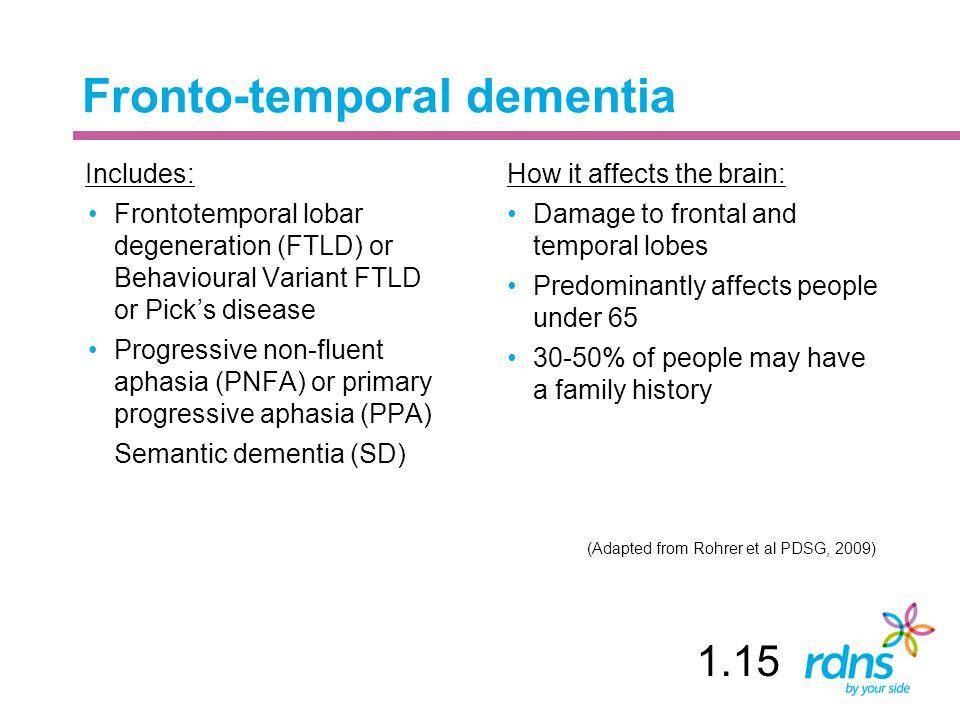 Fronto-temporal dementia Includes: Frontotemporal lobar degeneration (FTLD) or Behavioural Variant FTLD or Pick's disease Progressive non-fluent aphas
