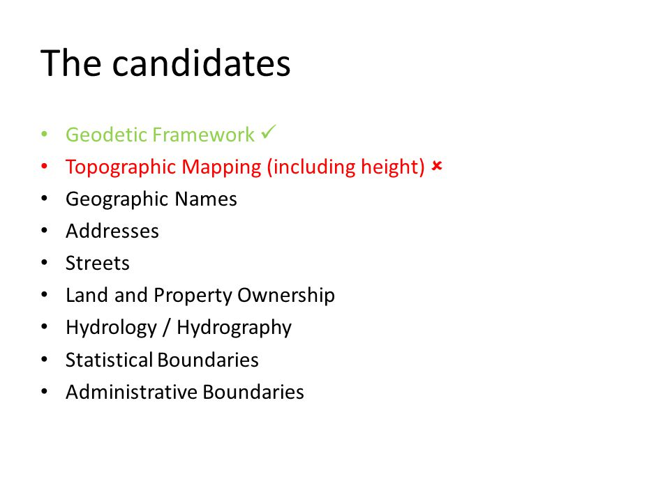 The candidates Geodetic Framework Topographic Mapping (including height)  Geographic Names Addresses Streets Land and Property Ownership Hydrology / Hydrography Statistical Boundaries Administrative Boundaries