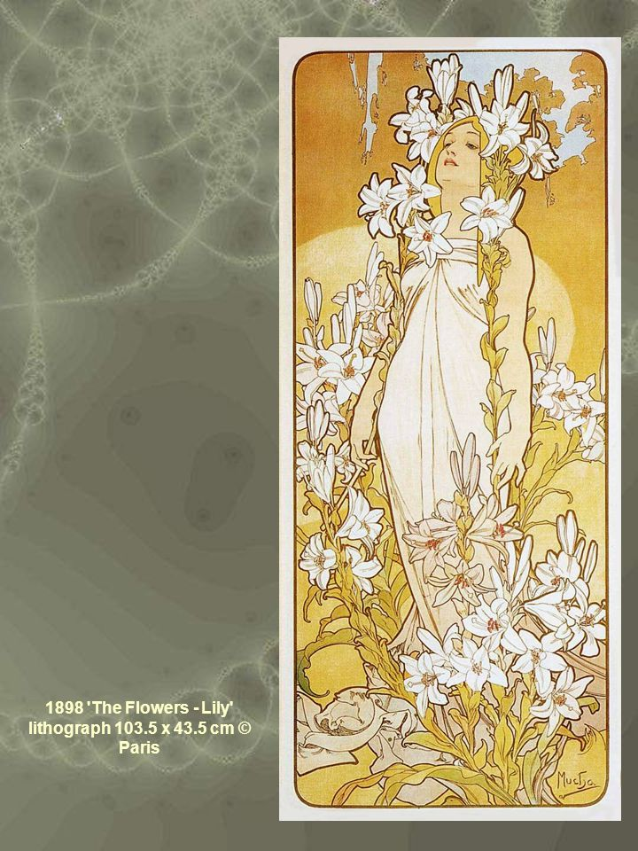 1898 'The Flowers - Lily' lithograph 103.5 x 43.5 cm © Paris