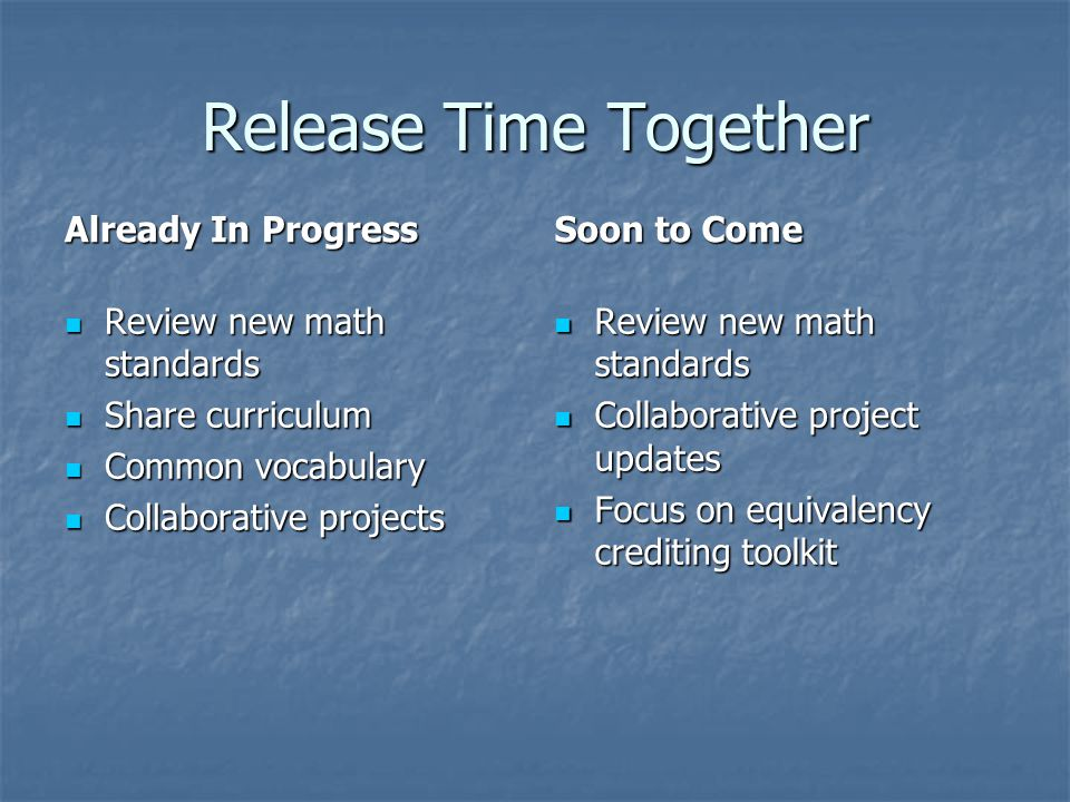 Release Time Together Already In Progress Review new math standards Review new math standards Share curriculum Share curriculum Common vocabulary Comm