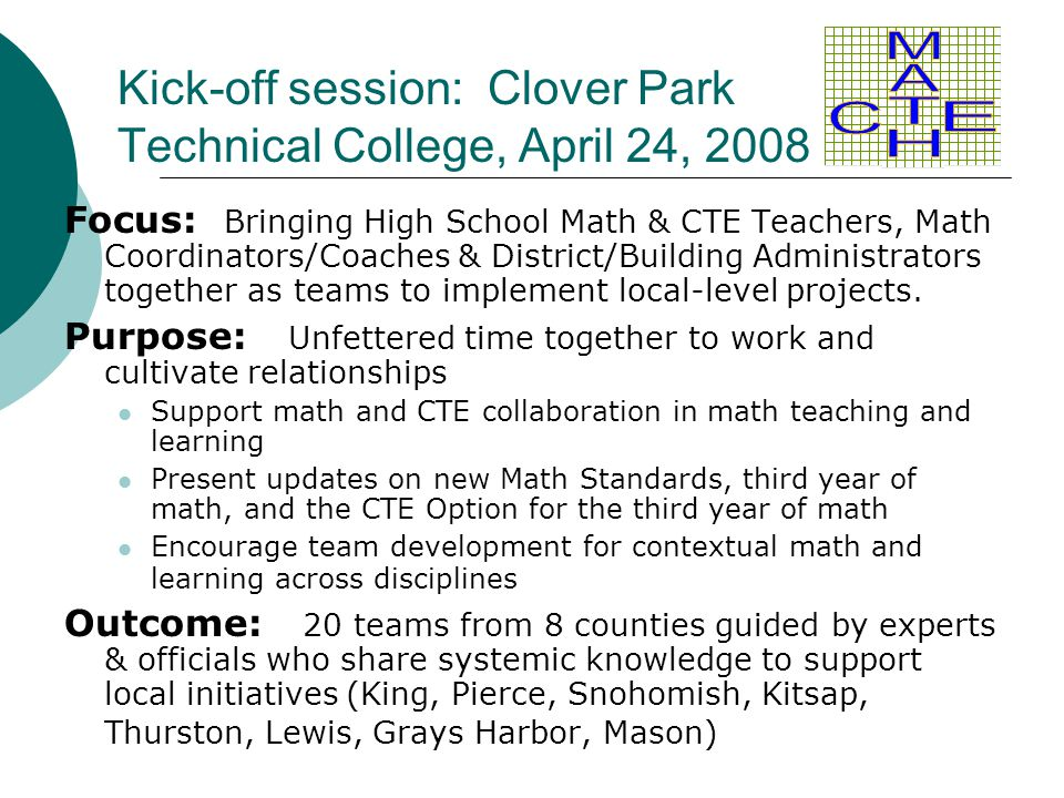 Kick-off session: Clover Park Technical College, April 24, 2008 Focus: Bringing High School Math & CTE Teachers, Math Coordinators/Coaches & District/