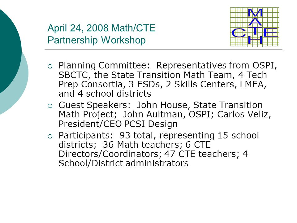 April 24, 2008 Math/CTE Partnership Workshop  Planning Committee: Representatives from OSPI, SBCTC, the State Transition Math Team, 4 Tech Prep Conso
