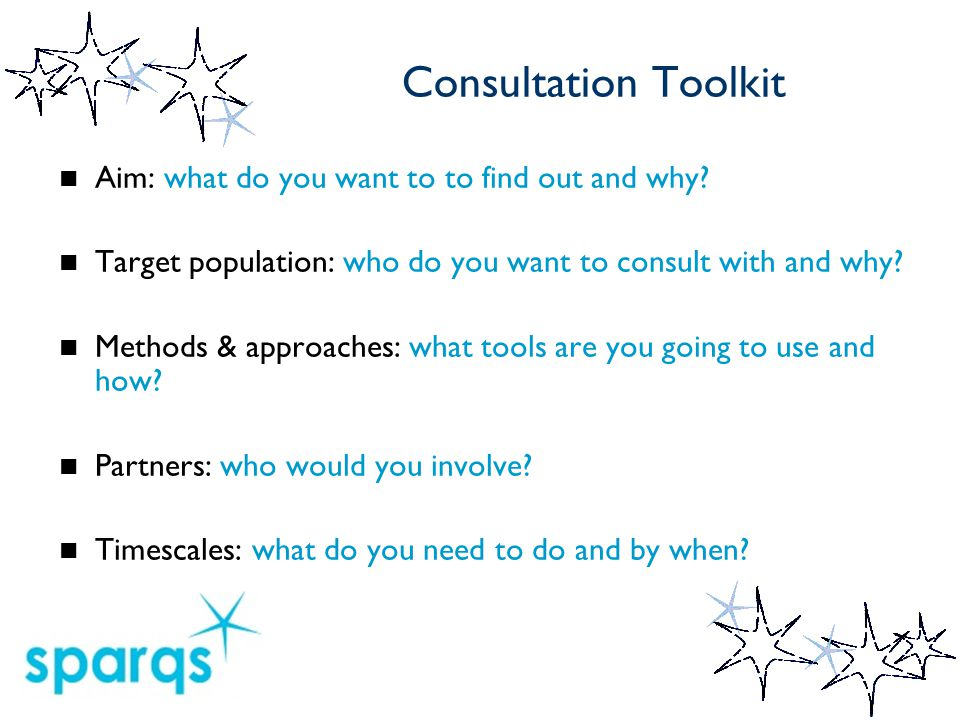 Consultation Toolkit Aim: what do you want to to find out and why.