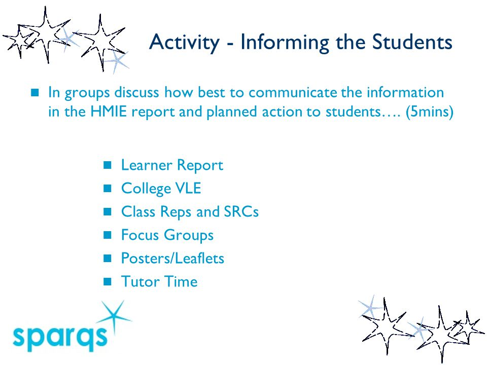 Activity - Informing the Students In groups discuss how best to communicate the information in the HMIE report and planned action to students….