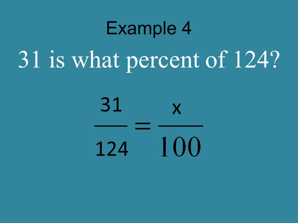 Example 5 6 is what percent of 400? 6 400 x