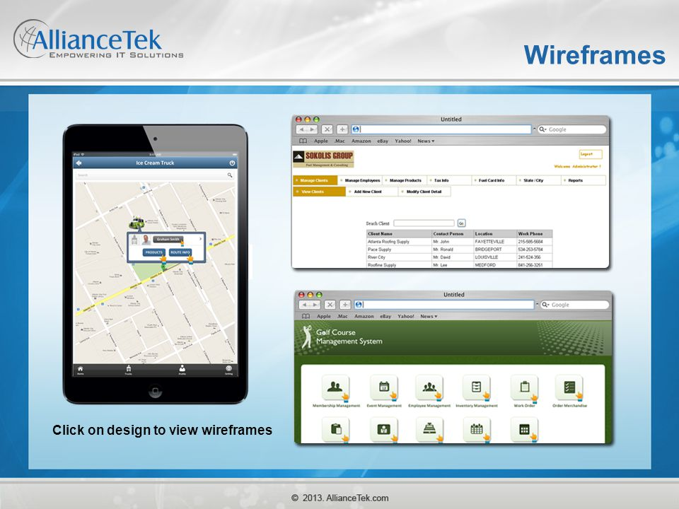 Wireframes Click on design to view wireframes