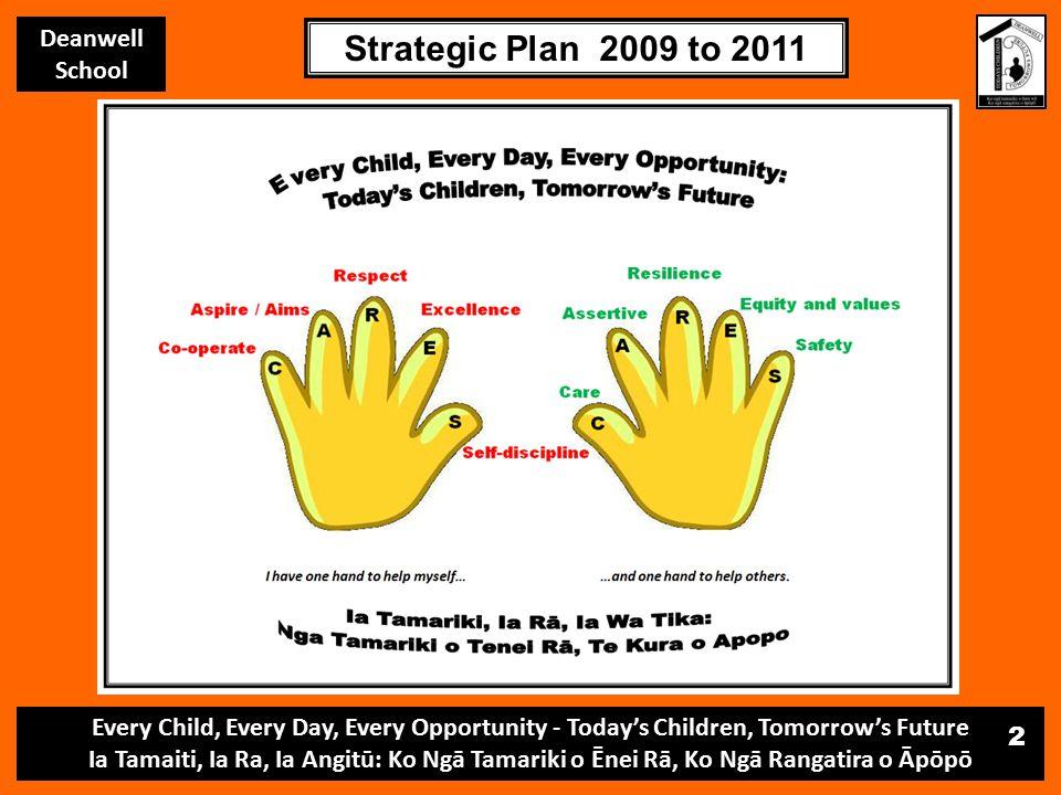 Every Child, Every Day, Every Opportunity - Today's Children, Tomorrow's Future Ia Tamaiti, Ia Ra, Ia Angitū: Ko Ngā Tamariki o Ēnei Rā, Ko Ngā Rangatira o Āpōpō Deanwell School Strategic Plan 2009 to 2011 2