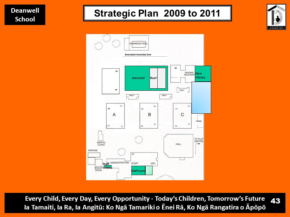 Every Child, Every Day, Every Opportunity - Today's Children, Tomorrow's Future Ia Tamaiti, Ia Ra, Ia Angitū: Ko Ngā Tamariki o Ēnei Rā, Ko Ngā Rangatira o Āpōpō Deanwell School Strategic Plan 2009 to 2011 43 AstroturfRoof New Library Staffroom Staff Toilets