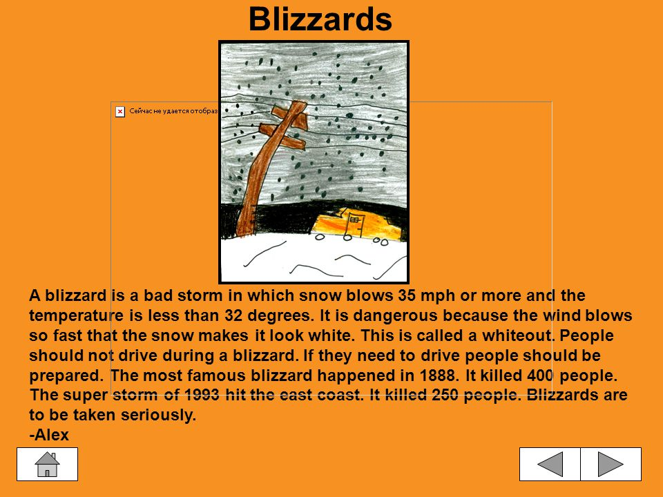 Storms Blizzards ThunderstormsTornadoes Hurricanes