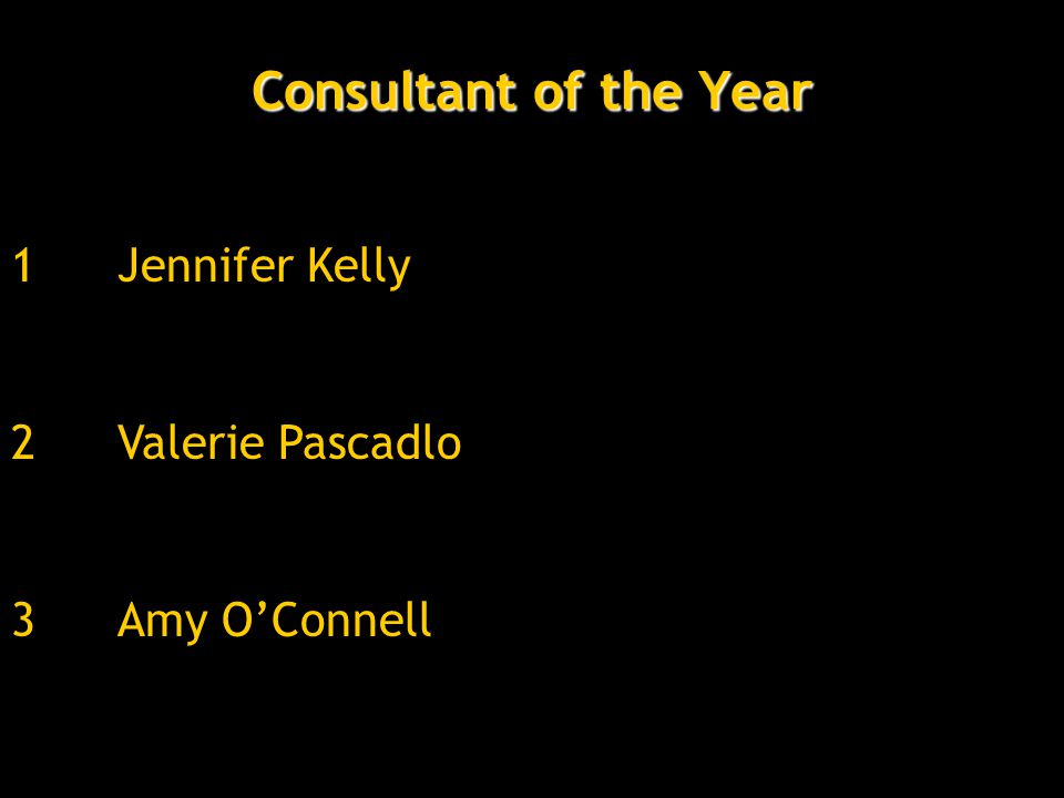 Consultant of the Year 3Amy O'Connell 2Valerie Pascadlo 1Jennifer Kelly