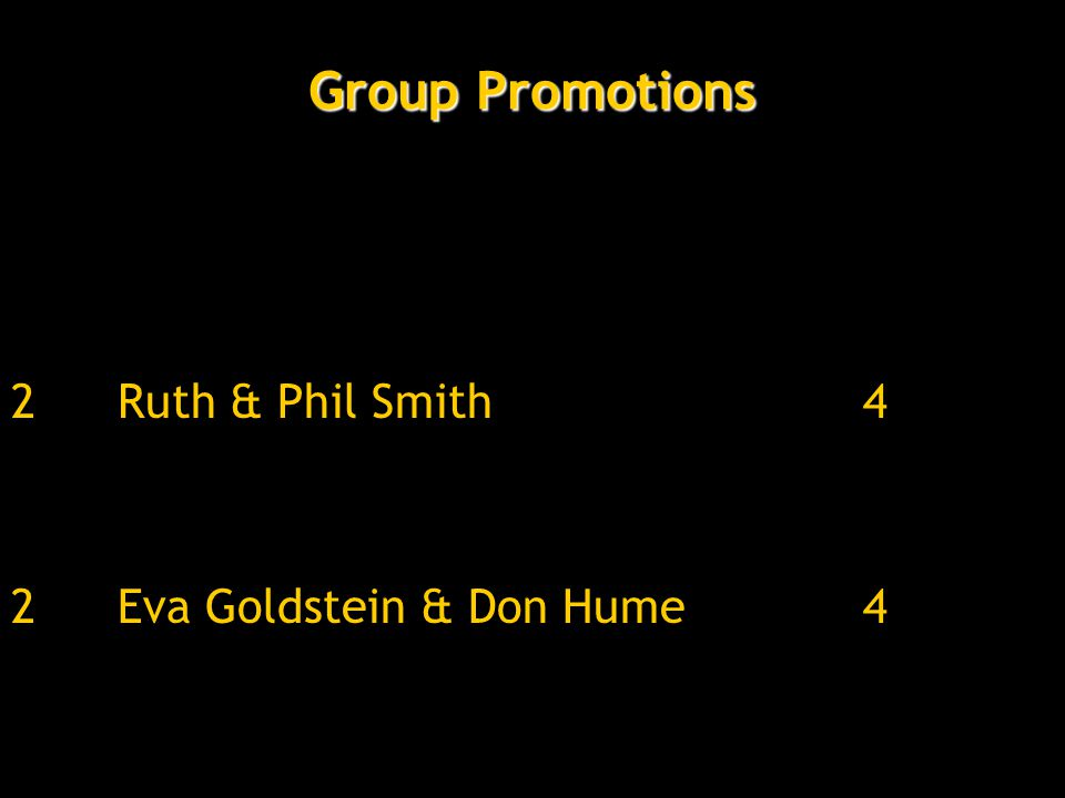 Group Promotions 2Ruth & Phil Smith 4 2Eva Goldstein & Don Hume4