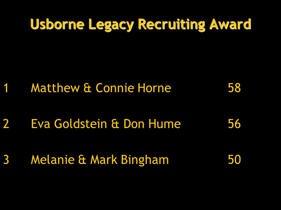 Usborne Legacy Recruiting Award 1Matthew & Connie Horne58 2Eva Goldstein & Don Hume56 3Melanie & Mark Bingham50