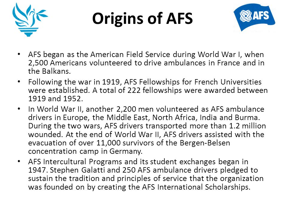 AFS in the WORLD