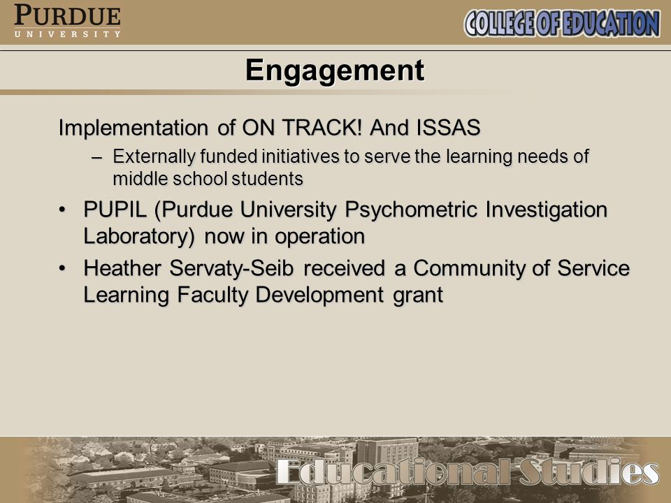Engagement Implementation of ON TRACK.