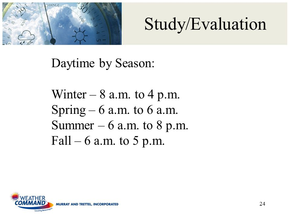 Study/Evaluation 24 Daytime by Season: Winter – 8 a.m.