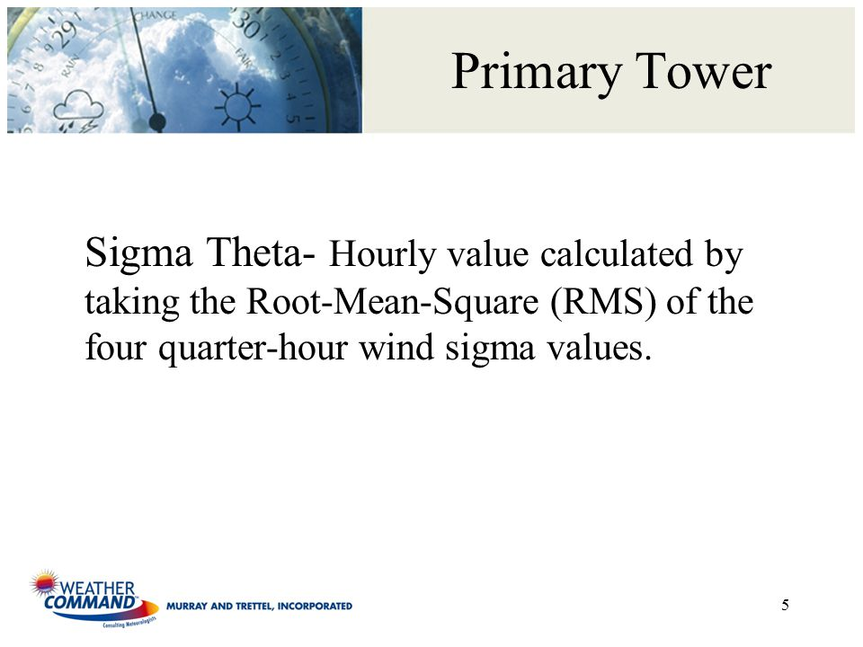 Primary Tower Sigma Theta- Hourly value calculated by taking the Root-Mean-Square (RMS) of the four quarter-hour wind sigma values.