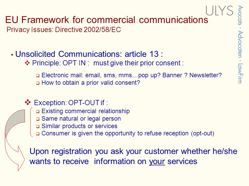 EU Framework for commercial communications Electronic Commerce Directive  Article 7 : Unsolicited commercial communications – SPAM  Spam must be identified in a clear and unambiguous way, as from the moment of reception on  Service providers must respect opt-out registers  Article 16 : Codes of Conduct or other self-regulatory instruments Misleading practice