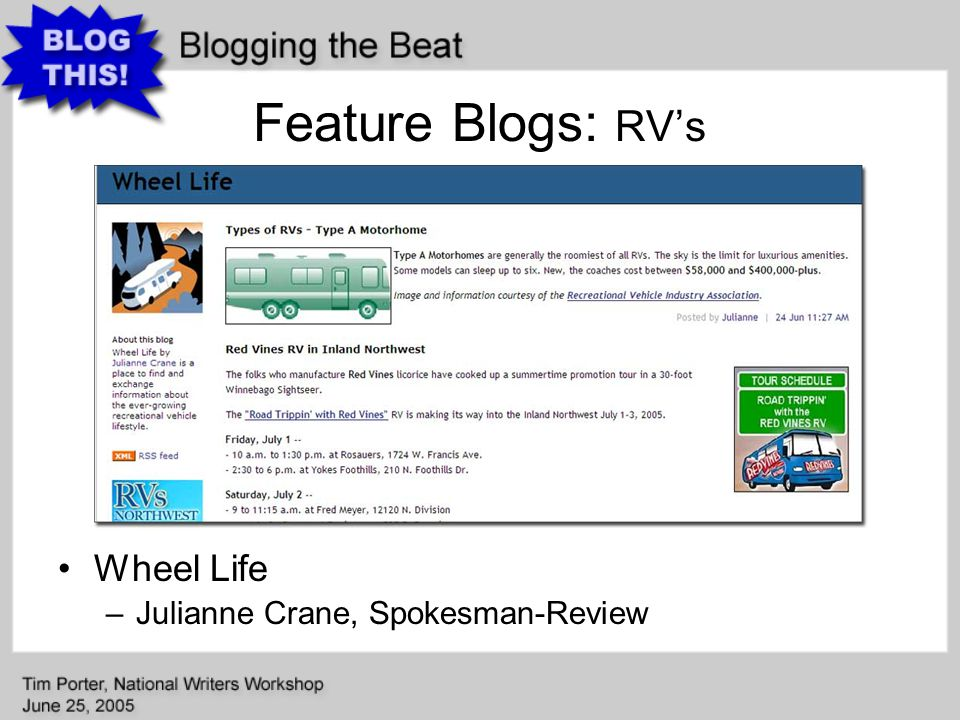 Feature Blogs: RV's Wheel Life –Julianne Crane, Spokesman-Review