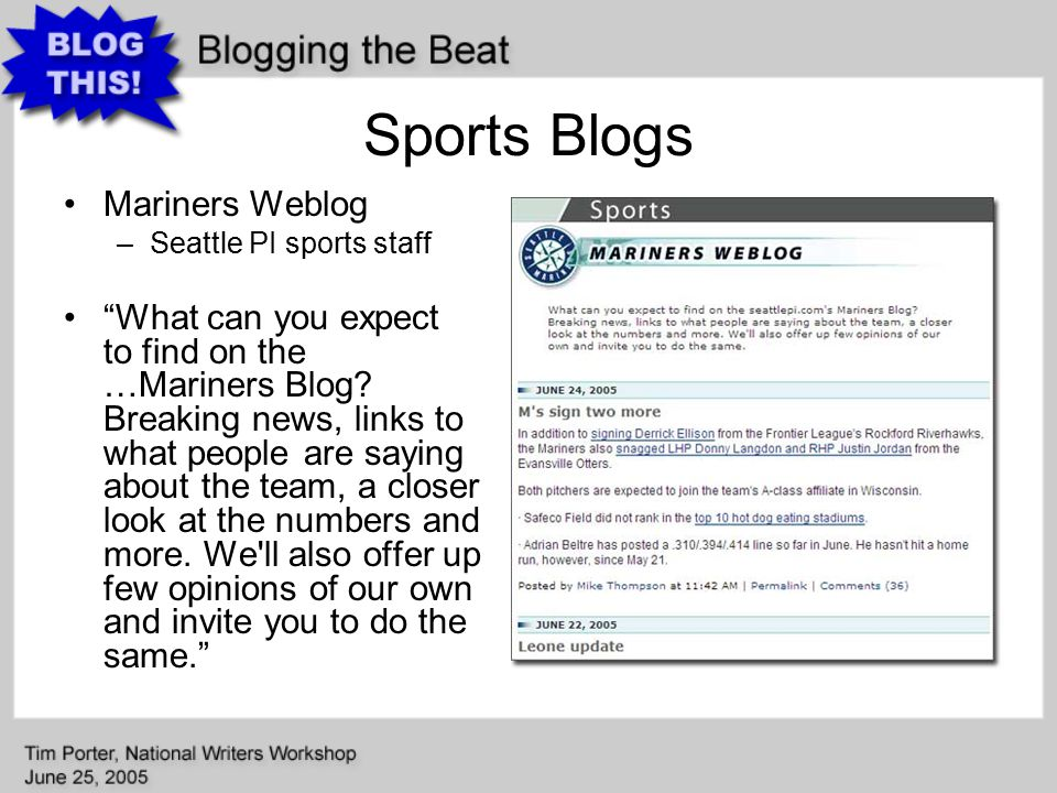 Sports Blogs Mariners Weblog –Seattle PI sports staff What can you expect to find on the …Mariners Blog.