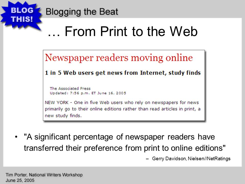 News Blogs: Local Government Inside Scoop –Matthew Williams, Mark Binker (government reporters), Greensboro, News-Record My favorite type of entry involves scanning in original memos and other documents into PDF s so people can read things for themselves.