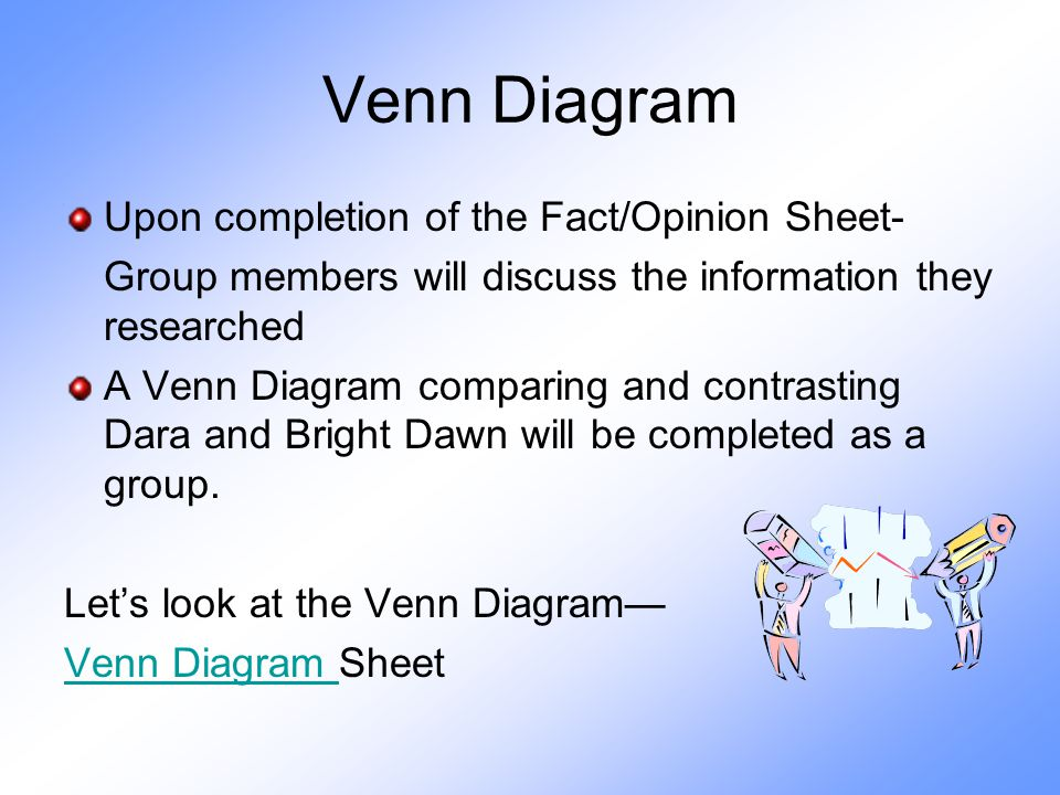 Venn Diagram Upon completion of the Fact/Opinion Sheet- Group members will discuss the information they researched A Venn Diagram comparing and contrasting Dara and Bright Dawn will be completed as a group.