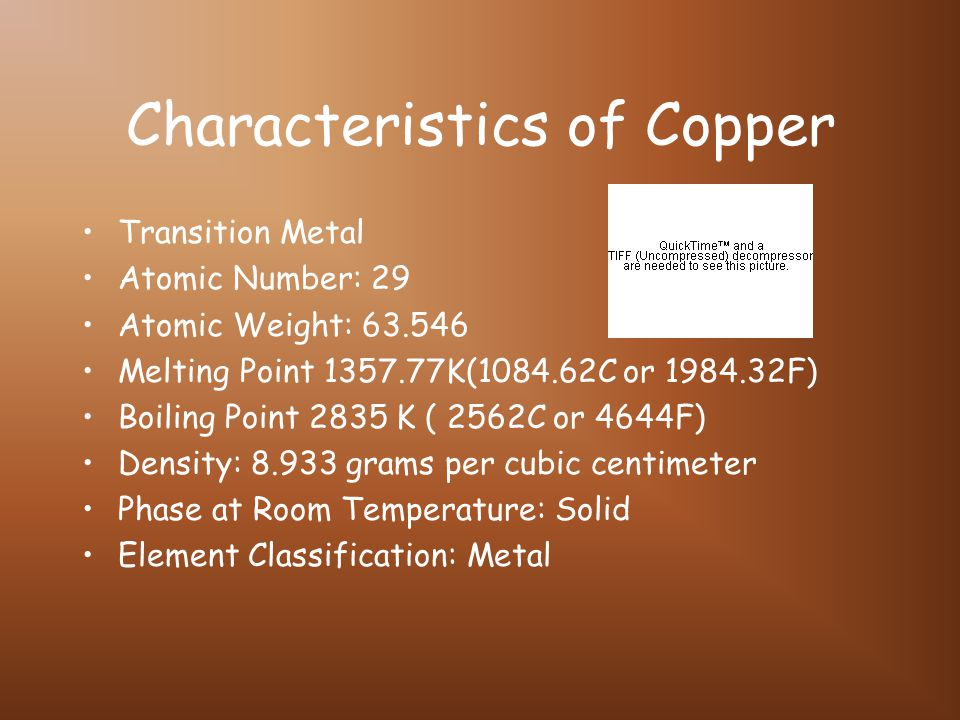 Characteristics of Copper Transition Metal Atomic Number: 29 Atomic Weight: 63.546 Melting Point 1357.77K(1084.62C or 1984.32F) Boiling Point 2835 K (