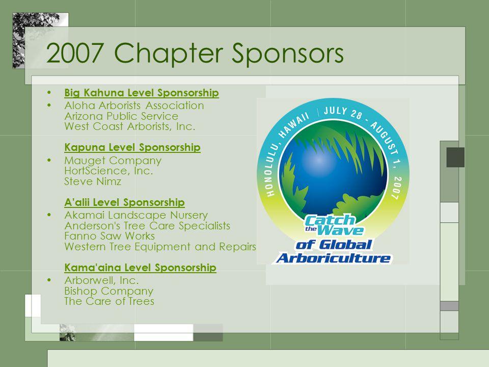 2007 Chapter Sponsors Big Kahuna Level Sponsorship Aloha Arborists Association Arizona Public Service West Coast Arborists, Inc.