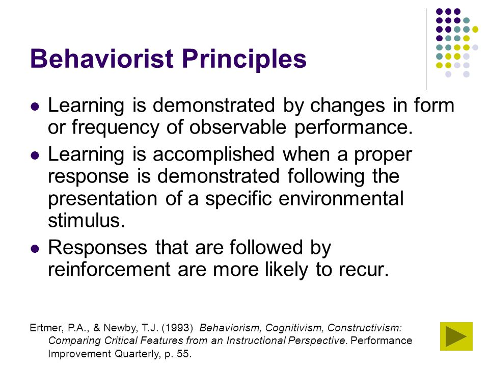 Behaviorist Principles Learning is demonstrated by changes in form or frequency of observable performance. Learning is accomplished when a proper resp