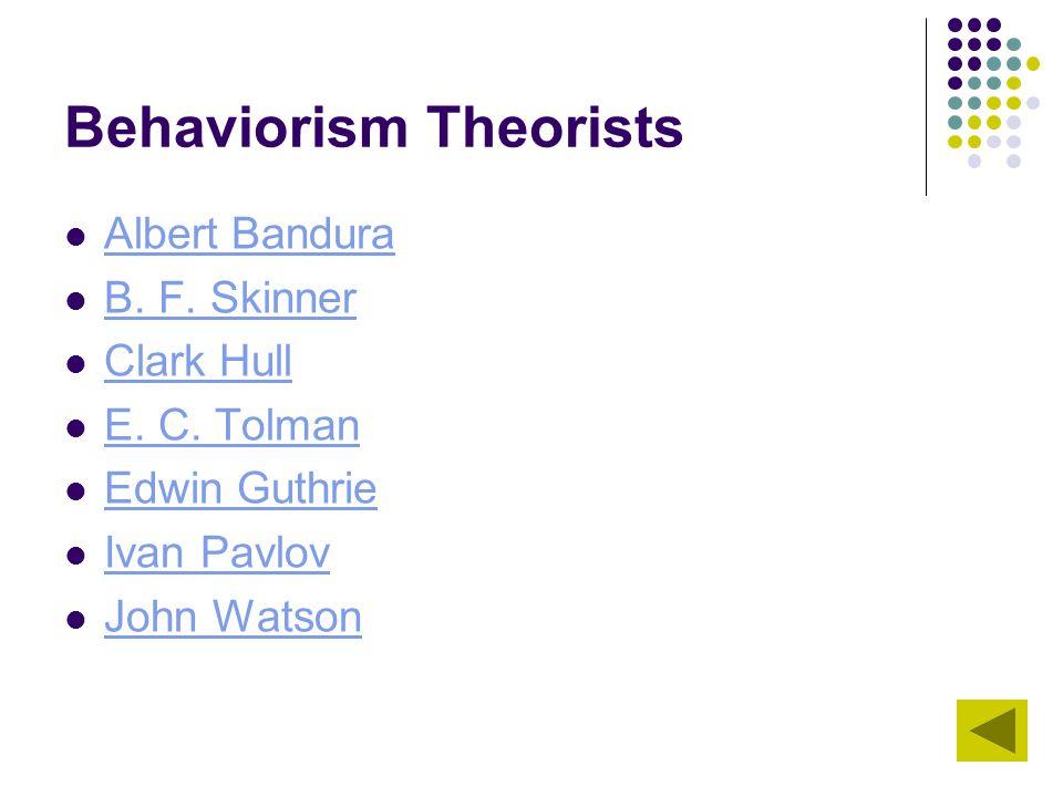 Behaviorism Theorists Albert Bandura B. F. Skinner Clark Hull E. C. Tolman Edwin Guthrie Ivan Pavlov John Watson