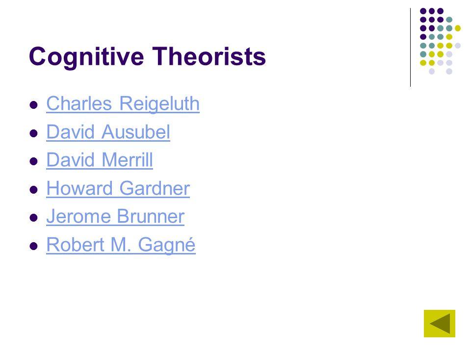 Cognitive Theorists Charles Reigeluth David Ausubel David Merrill Howard Gardner Jerome Brunner Robert M. Gagné Robert M. Gagné