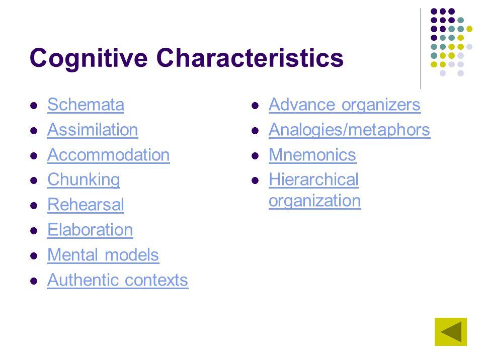 Cognitive Characteristics Schemata Assimilation Accommodation Chunking Rehearsal Elaboration Mental models Authentic contexts Advance organizers Analo