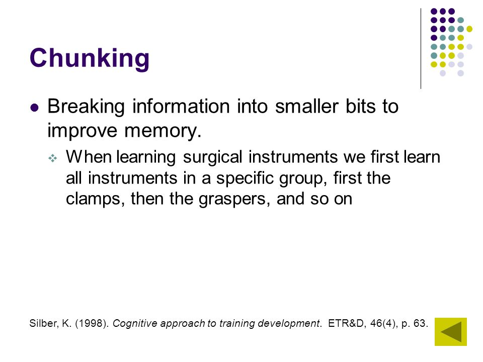 Chunking Breaking information into smaller bits to improve memory.  When learning surgical instruments we first learn all instruments in a specific g